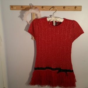 George Size 14 Solid Red Black Glitter Dress